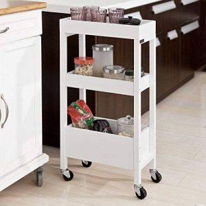 SoBuy® FKW49-W Tour de rangement Desserte Chariot de stockage en bois Meuble de rangement – 3 étagères, 4 roulettes –Blanc de la marque SoBuy image 0 produit