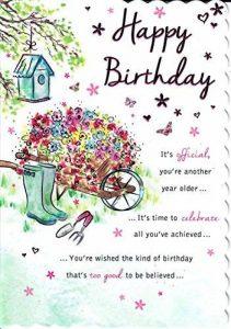 Superbe Value Open Happy carte d'anniversaire pour femelle. Brouette Scène de la marque Goldmark image 0 produit