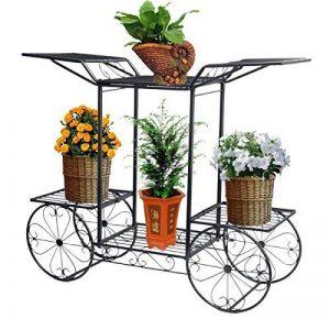 Étagère de Pots de Fleurs Plantes Chariot avec 6 Corbeilles en Métal Fer Forge pour Décoration Maison Balcon Terrasse Jardin Entrée -Dazone®-Noir de la marque Dazone image 0 produit