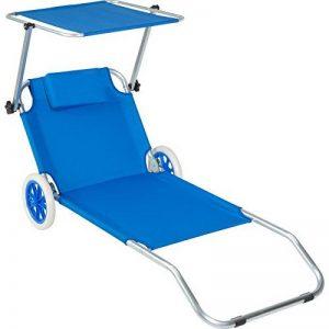 TecTake Chaise longue de plage bain de soleil | Chaise longue à roulettes | 176 cm | -diverses couleurs au choix- (Bleu | Nr. 402784) de la marque TecTake image 0 produit