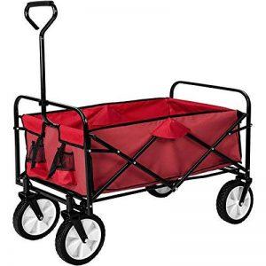 TecTake Chariot de transport à main Remorque de jardin pliable | 98 x 55 x 122 (LxBxH) | -diverses couleurs au choix- (Rouge | no. 400906) de la marque TecTake image 0 produit