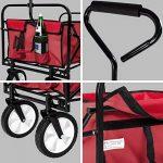 TecTake Chariot de transport à main Remorque de jardin pliable | 98 x 55 x 122 (LxBxH) | -diverses couleurs au choix- (Rouge | no. 400906) de la marque TecTake image 3 produit