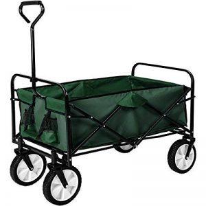 TecTake Chariot de transport à main Remorque de jardin pliable | 98 x 55 x 122 (LxBxH) | -diverses couleurs au choix- (Vert | no. 402596) de la marque TecTake image 0 produit