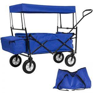 TecTake Chariot pliable avec toit amovible charrette de transport à tirer main - diverses couleurs au choix - (Bleu   No. 402316) de la marque TecTake image 0 produit