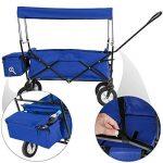 TecTake Chariot pliable avec toit amovible charrette de transport à tirer main - diverses couleurs au choix - (Bleu | No. 402316) de la marque TecTake image 1 produit