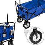 TecTake Chariot pliable avec toit amovible charrette de transport à tirer main - diverses couleurs au choix - (Bleu   No. 402316) de la marque TecTake image 3 produit