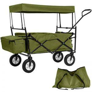 TecTake Chariot pliable avec toit amovible charrette de transport à tirer main vert de la marque TecTake image 0 produit
