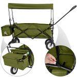 TecTake Chariot pliable avec toit amovible charrette de transport à tirer main vert de la marque TecTake image 1 produit