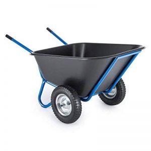 Waldbeck Colossus - Brouette sur 2 roues haute capacité pour charges lourdes jusqu'à 350kg - Capacité de 300L - Grandes poignées en caoutchouc - Excellente stabilité sur terrains accidentés - bleu de la marque Waldbeck image 0 produit