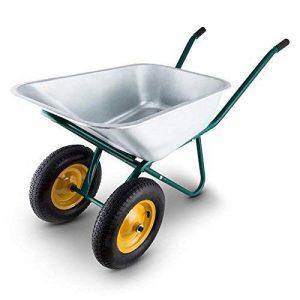 Waldbeck Heavyload • Brouette • Chariot de jardin • Capacité de transport 120l• Capacité de charge 320 kg • En tôle d'acier galvanisé • Bonne stabilité• Résistant aux intempéries • vert-argent de la marque Waldbeck image 0 produit