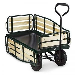 Waldbeck Ventura - Remorque de transport à main, chariot de manutention carriole pour jardin, travaux (charge max de 300 kg, panneaux latéraux rabattables, roues pneumatiques sur suspensions) de la marque Waldbeck image 0 produit