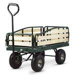 Waldbeck Ventura - Remorque de transport à main, chariot de manutention carriole pour jardin, travaux (charge max de 300 kg, panneaux latéraux rabattables, roues pneumatiques sur suspensions) de la marque Waldbeck image 3 produit