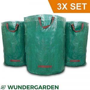 Wundergarden© - Grands sacs à déchets de jardinage XL par lot de 3 en tissu PP solide pour jusqu'à 270 litres de déchets de jardin, de feuilles, d'herbe, de plantes, de compost - format rond, tient debout et peut être plié -sacs à feuille, sac de jardin d image 0 produit