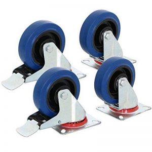yahee Lot de 4roues Roulettes de transport Roulettes pivotantes charges lourdes 100mm M/O Frein Résistance 180kg Bleu/noir de la marque Yaheetech image 0 produit
