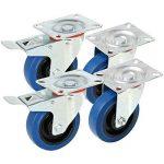 yahee Lot de 4roues Roulettes de transport Roulettes pivotantes charges lourdes 100mm M/O Frein Résistance 180kg Bleu/noir de la marque Yaheetech image 2 produit